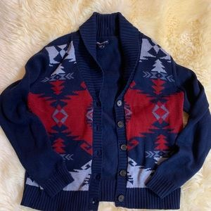 American living red and blue button sweater